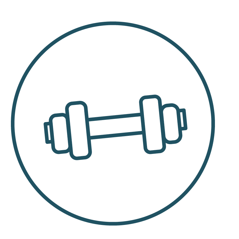 Weights - representing exercise. Exerrcise is encouraged to improve the post-treatment healing.