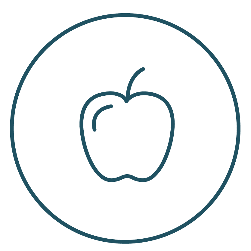 An apple representing nutrition - a healthy nutrition helps with the mesothelioma post-treatment recommendations.